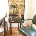 Side Table: Vintage Card Catalogue Box, Steel Base