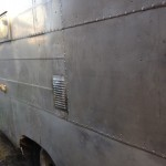 Exterior patching: with vintage aluminum off an old Airstream. Lots of riveting.